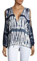 Young Fabulous & Broke Tie-Dye Printed Cold Shoulder Hi-Lo Top