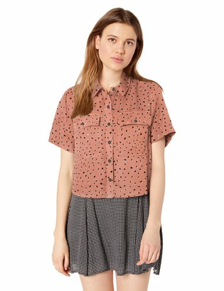 RVCA Women's VOILA Cropped Woven Short Sleeve Shirt