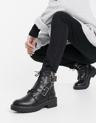 New Look buckle detail lace up chunky boots in black