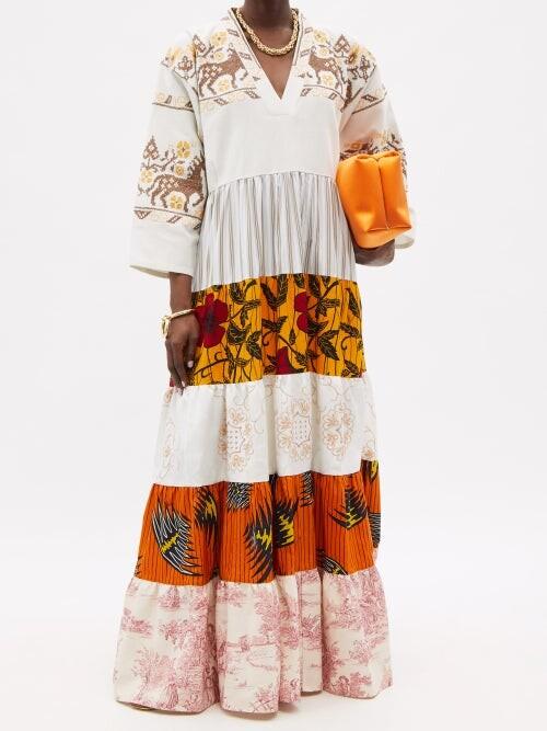 Thumbnail for your product : RIANNA + NINA Kendima Patchwork Cotton-poplin Maxi Dress - Multi
