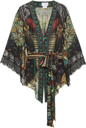 Camilla Lace-trimmed Embellished Printed Silk-chiffon Kimono
