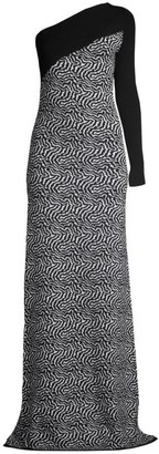 Victor Glemaud One-Shoulder Zebra Knit Gown