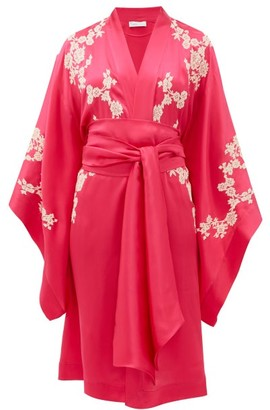 Carine Gilson Lace-applique Silk-charmeuse Robe - Womens - Pink Multi