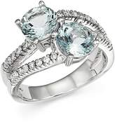 Bloomingdale's Aquamarine and Diamond Two Stone Ring in 14K White Gold
