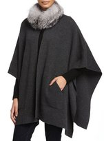 Sofia Cashmere Cashmere Fur-Trim Poncho w/ Pockets, Charcoal
