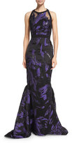 J. Mendel Halter-Neck Two-Tone Organza Gown, Violet/Black