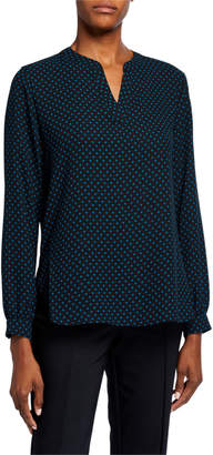 Anne Klein Posh Dot Split-Neck Long-Sleeve Blouse