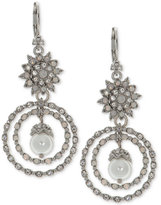 Marchesa Silver-Tone Crystal and Imitation Pearl Orbital Drop Earrings