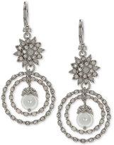 Marchesa Silver-Tone Crystal & Imitation Pearl Orbital Drop Earrings