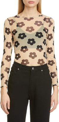 Sandy Liang Floral Print Mesh Long Sleeve T-Shirt