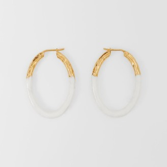 Burberry Enamel and Gold-plated Hoop Earrings