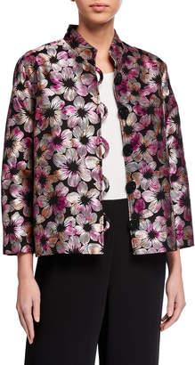 Caroline Rose Plus Size Fiesta Floral Jacquard Mandarin-Collar Jacket