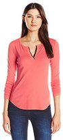Three Dots Women's Long Sleeve Shirt Tail Henley with Trim
