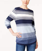 Karen Scott Cotton Striped Sweater, Created for Macy's