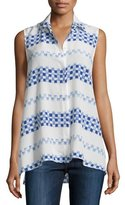 Equipment Milla Sleeveless Button-Front Top, Nature White/Biro Blue
