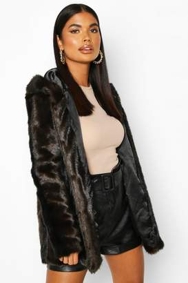 boohoo Petite Hooded Luxe Faux Fur Coat