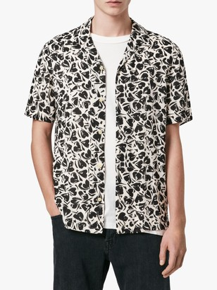 AllSaints Heartbreak Short Sleeve Hawaiian Shirt, Ecru/Jet Black