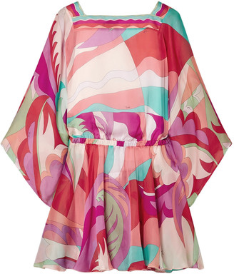 Emilio Pucci Cutout Printed Silk Crepe De Chine Mini Dress