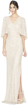 Alice + Olivia Krystina Embellished Cape Sleeve Gown