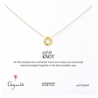 Dogeared love knot gold dipped necklace