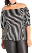 City Chic Neck Tie Stripe Off the Shoulder Top