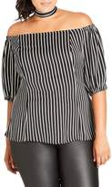 City Chic Plus Size Women's Neck Tie Stripe Off The Shoulder Top