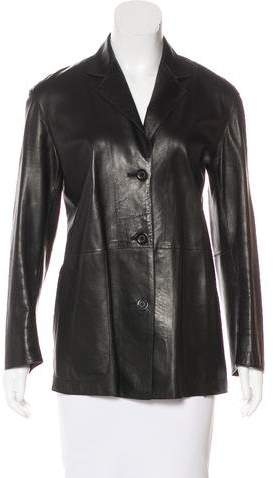 Donna Karan Leather Button-Up Jacket
