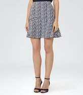 Reiss Gilly - Textured Jacquard Skirt in Blue, Womens