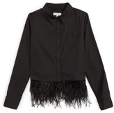 Milly Minis Girl's Feather Trim Shirt