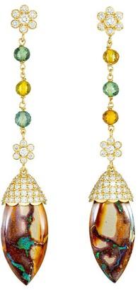 GUITA M 18kt Yellow Gold, Opal, Sapphire And Diamond Drop Earrings