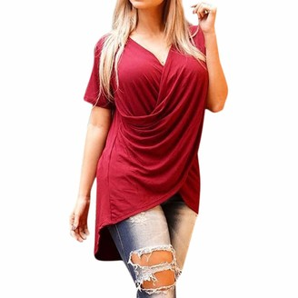 Rovinci Women's Clothing Rovinci_Womens Plus Size Short Sleeve V-Neck Chiffon Criss Cross Front Solid Color T-Shirt Casual Summer Pure Color Tops Red