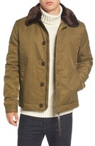 French Connection Men's Bystander Jacket With Faux Fur Collar