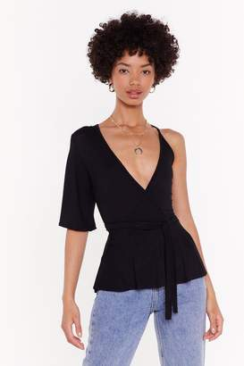 Nasty Gal Womens No Arm Done Belted Wrap Top - Black - 6