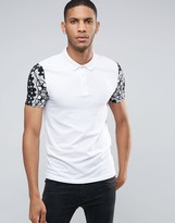 Asos Muscle Polo Shirt In White With Contrast Bandana Print Sleeves