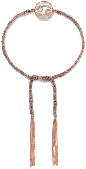 Carolina Bucci Cancer Lucky Zodiac 18-karat Rose Gold, Diamond, Mother-of-pearl And Silk Bracelet