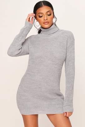 I SAW IT FIRST Grey Roll Neck Jumper Dress
