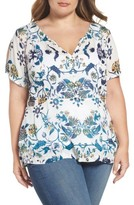 Lucky Brand Plus Size Women's Cold Shoulder Floral Top