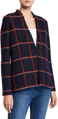 St. John Maritime Plaid Knit High-Low Jacket