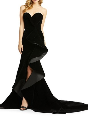 Mac Duggal Strapless Velvet Trumpet Gown