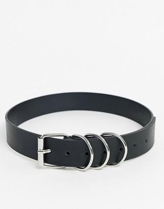 Asos DESIGN multi silver ring keeper jeans belt in black