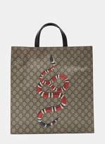 Gucci Men's Snake Print GG Supreme Tote Bag in Brown