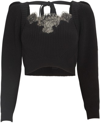 Self-Portrait Lace-Trimmed Cropped Sweater
