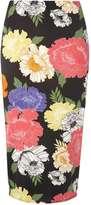 **Tall Black Floral Pencil Skirt