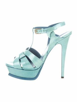 Saint Laurent Patent Leather T-Strap Sandals Green