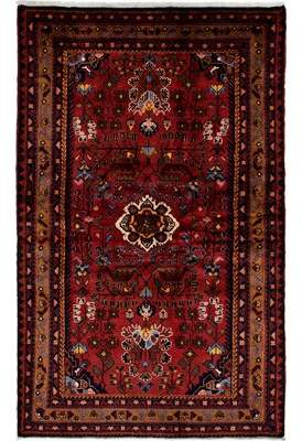 """Ecarpetgallery Hand-knotted Hamadan Red Wool Rug 4'6"""" x 7'4"""