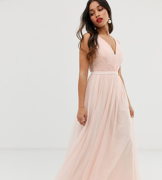 Little Mistress Petite lace back maxi dress in pink