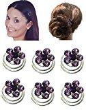 "B.ella Set of 6 Hair Twists with Crystal Flower Ornament 7/16"" in diameter NF83075-1htflr-6lavender"