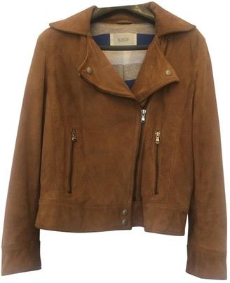 Mauro Grifoni Camel Suede Leather Jacket for Women