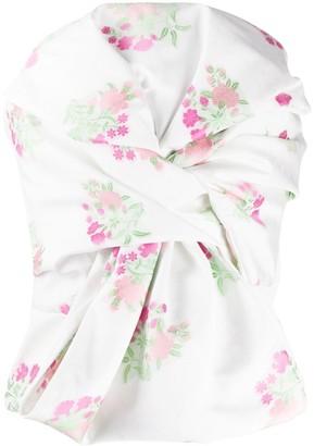 Giuseppe di Morabito Floral-Print Strapless Top