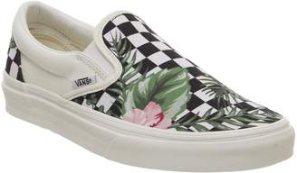 Vans Classic Slip On Trainers Black Tropical Checkerboard Exclusive